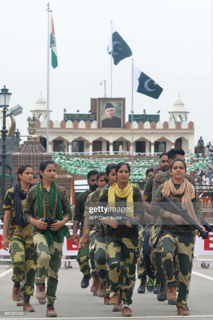 Indian Border Security Force soldiers rehearse for the 70th Independence Day at the IndiaPakistan Wagah border post on August 14 2017 Muslimmajority..
