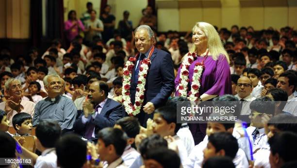 Indian born music conductor and composer Zubin Mehta and his wife Nancy Kovack prepare to sit with students after arriving at St Mary's school his...