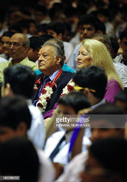 Indian born music conductor and composer Zubin Mehta and his wife Nancy Kovack sit with students after arriving at St Mary's school his alma mater in...