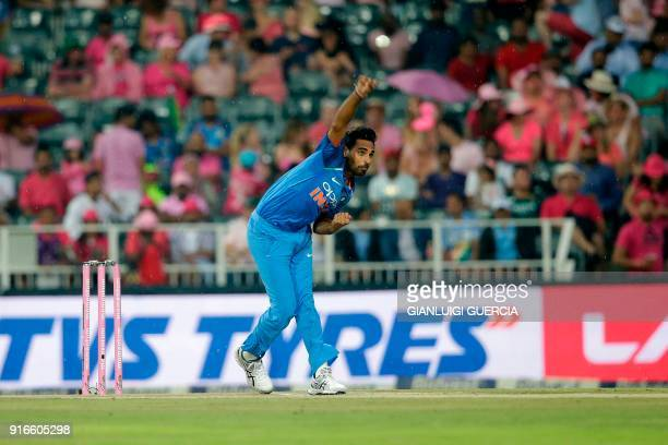 Indian bowler Bhuvneshwar Kumar bowls on South African batsman and Captain Aiden Markram during the fourth One Day International cricket match...