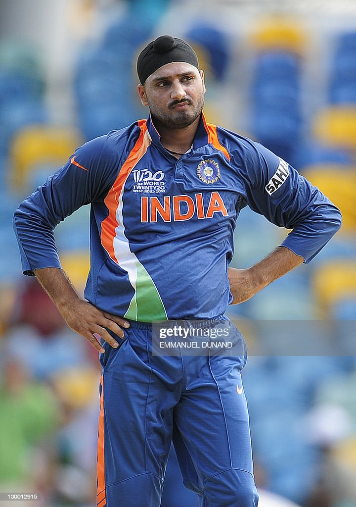 Indian bowler Harbhajan Singh reacts during the ICC World Twenty20 Super Eight match between Australia and India at the Kensington Oval on May 7, 2010 in Bridgetown, Barbados. AFP PHOTO/Emmanuel Dunand