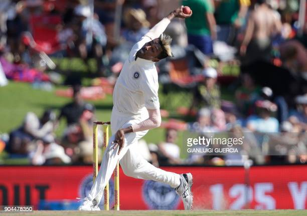 Indian bowler Hardik Pandya bowls on South African batsman Hashim Amla during the first day of the second Test cricket match between South Africa and...