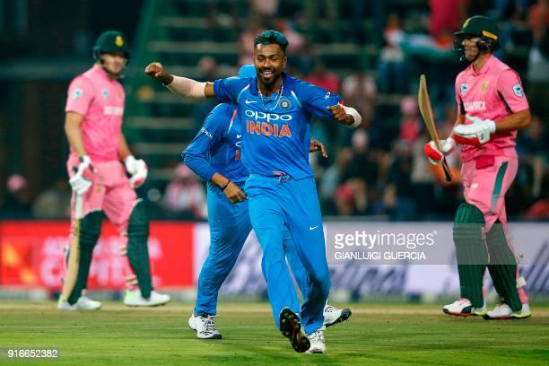 Indian bowler Hardik Pandya celebrates the dismissal of South African batsman AB de Villiers during the fourth One Day International cricket match...