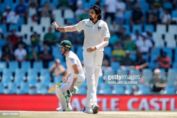 Indian bowler Ishant Sharma reacts as South African batsman Faf du Plessis takes a run during the second day of the second Test cricket match between...