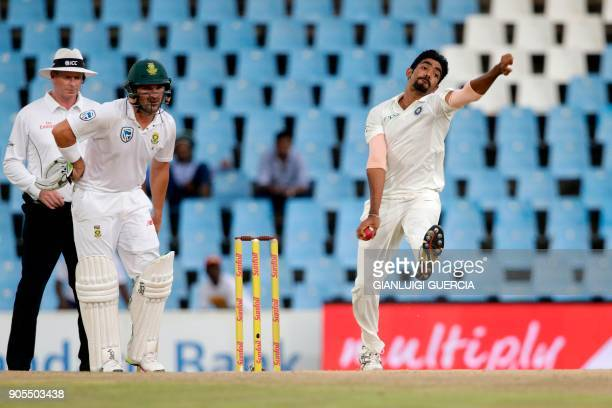 Indian bowler Jasprit Bumrah bowls on South African bowler AB de Villiers during the third day of the second Test cricket match between South Africa...