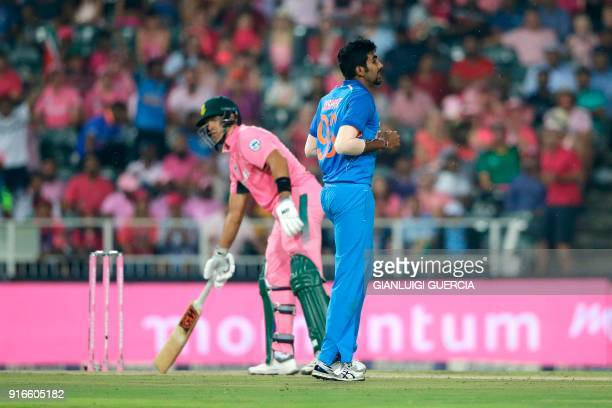 Indian bowler Jasprit Bumrah celebrates the dismissal of South African batsman and Captain Aiden Markram during the fourth One Day International...