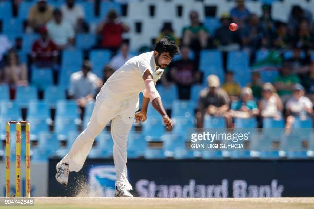 Indian bowler Jasprit Bumrah delivers a ball during the second day of the second Test cricket match between South Africa and India at Supersport...