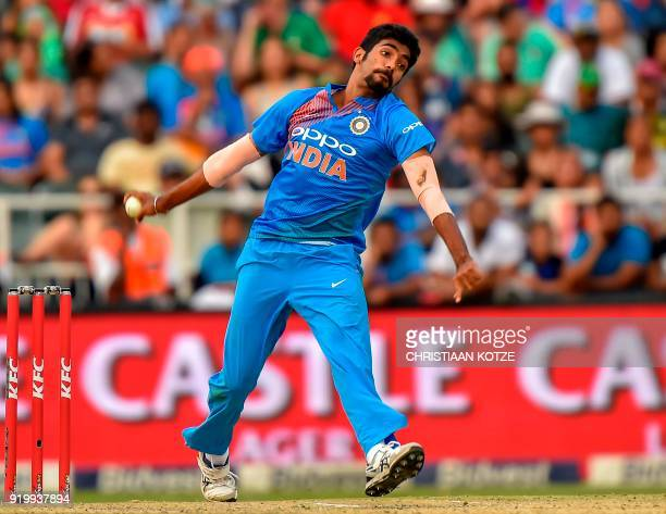 Indian bowler Jasprit Bumrah delivers the ball during the first T20I cricket match between South Africa and India at The Wanderers Cricket Stadium in...