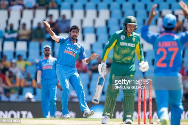 Indian bowler Jasprit Bumrah reacts after bowling on South African batsman Quinton de Kock during the second One Day International cricket match...