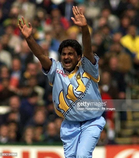 Indian bowler Javagal Srinath unsuccessfully appeals for a Pakistani wicket during their Super Six Cricket World Cup match at Old Trafford Manchester