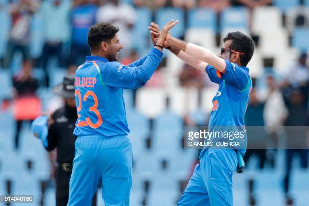 Indian bowler Kuldeep Yadav celebrates the dismissal South African batsman Aiden Markram during the second One Day International cricket match...