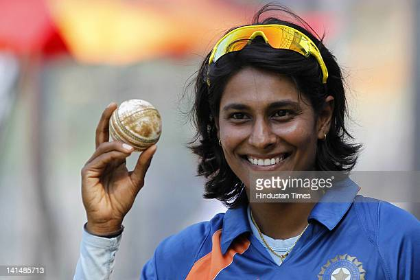 Indian bowler Nooshin Al Khadeer celebrates her 100 wickets during the third and final one-day match between the women's cricket teams of India and...