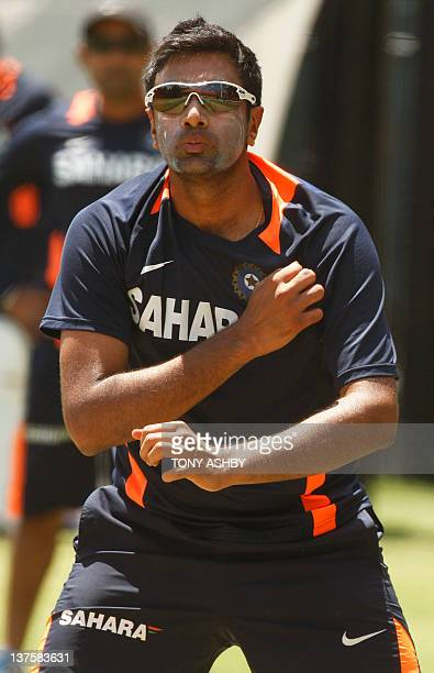 Indian bowler Ravi Ashwin practices ahead of the fourth cricket test match against Australia at the Adelaide Oval on January 23 2012 IMAGE STRICTLY...