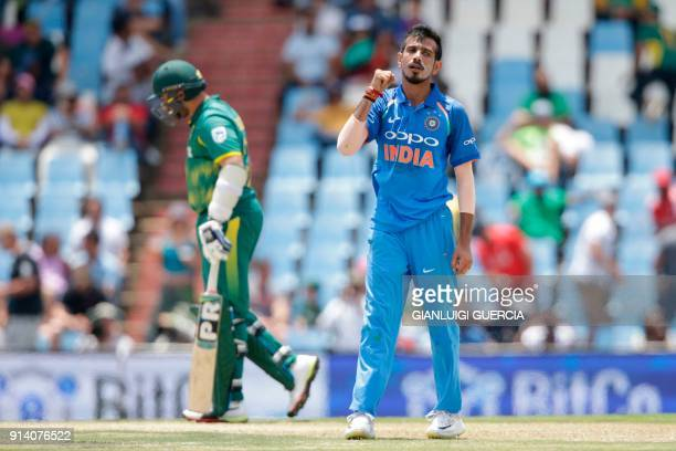 Indian bowler Yuzvendra Chahal celebrates the dismissal South African batsman Chris Morris during the second One Day International cricket match...