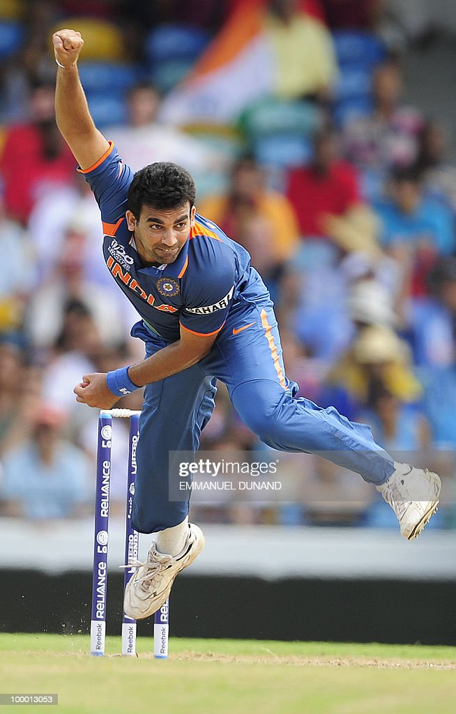 Indian bowler Zaheer Khan delivers during the ICC World Twenty20 Super Eight match between Australia and India at the Kensington Oval on May 7, 2010 in Bridgetown, Barbados. AFP PHOTO/Emmanuel Dunand