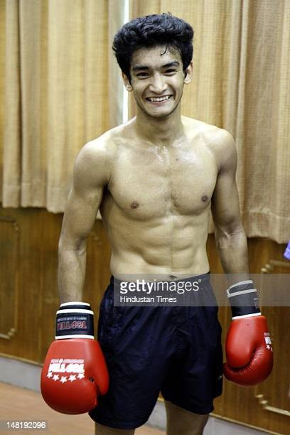 Indian Boxer Shiva Thapa during training on June 28 2012 at NIS Patiala India This time record 8 pugilists will be representing India in 2012 London...
