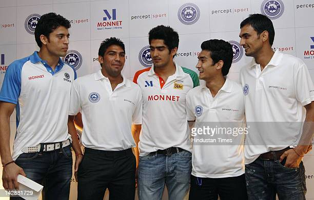 Indian Boxers Sumit Sangwan Manoj Kumar Vijender Singh Shiva Thapa and Jai Bhagwan who have qualified for the London 2012 Olympics during a press...