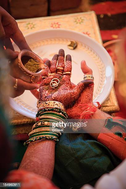 Indian bride and groom with rings