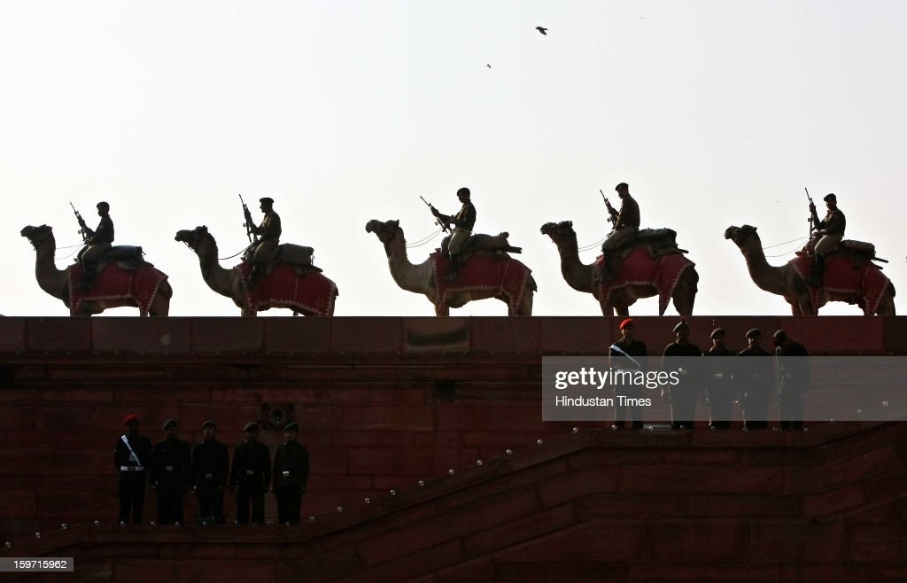 Indian BSF Camel contingent during a rehearsal of Beating retreat ceremony at Vijay Chowk on January 19, 2013 in New Delhi, India. Several bands from Army, Navy and Air Force will play military tunes at the ceremony to be held in Vijay Chowk on the January 29.
