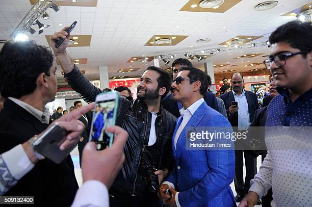 Indian businessman and the husband of politician Priyanka Vadra, Robert Vadra visited the Auto Expo 2016 on February 8, 2016 in Greater Noida, India....