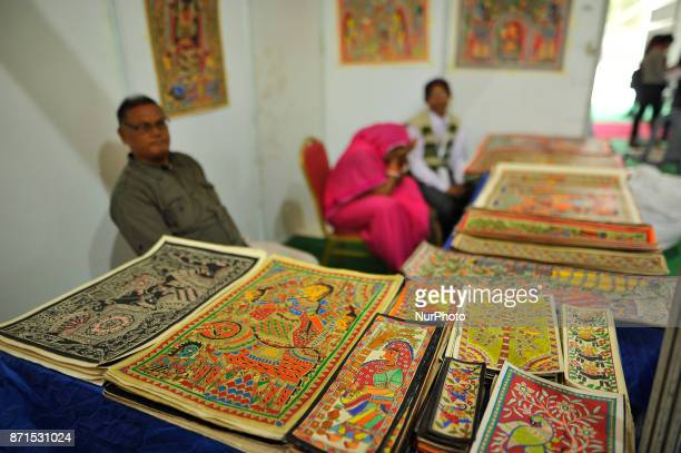 A indian businessman display mithila arts to sell during Nepal India Crafts Festival 2017 an initiative of the South Asia Foundation in Kathmandu...