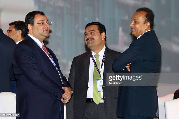 Indian businessmen Tata Group Chairman Cyrus Mistry Chairman amp Founder of Adani Group Gautam Adani with Reliance ADA Group Chairman Anil Dhirubhai...
