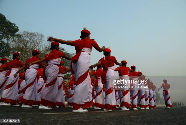 TOPSHOT Indian cadets take part in a rehearsal ahead of the forthcoming Republic Day parade in Kolkata on January 21 2018 India will celebrate its...