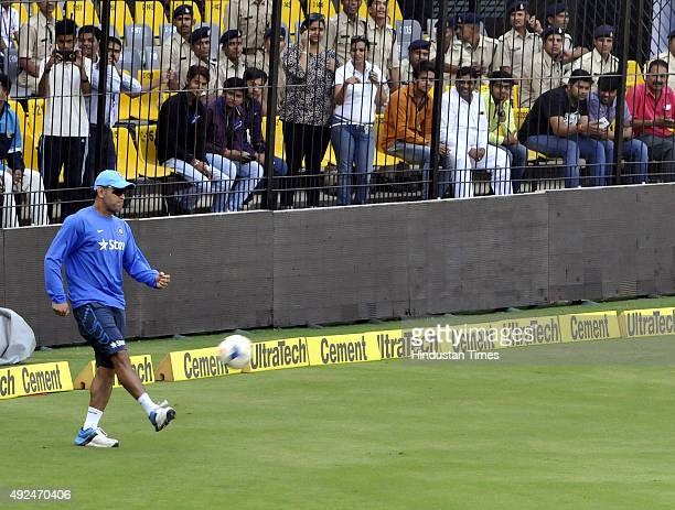 Indian captain MS Dhoni during the practice session at Holkar Stadium ahead of the 2nd ODI against South Africa on October 13 2015 in Indore India