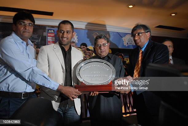 Indian captain Mahendra Singh Dhoni being felicitated by the Madras Cricket Club for leading the Chennai Super Kings to victory in IPL season 3 on...
