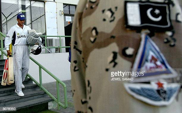 Indian captain Sourav Ganguly arrives at the National Stadium in Karachi 12 March 2004 for a practice session amid tight security as part of India's...