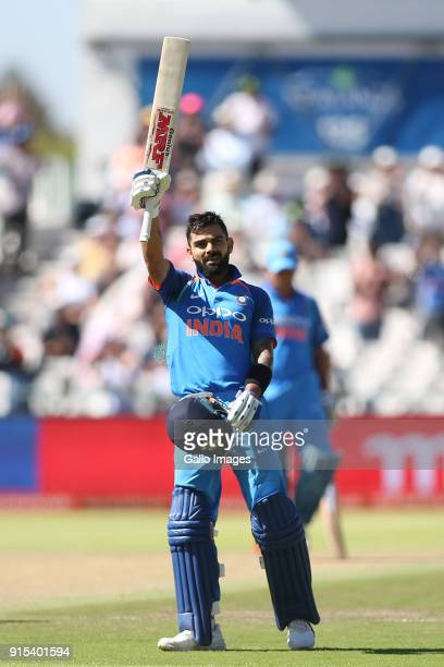 Indian captain Virat Kohli celebrates reaching his century during the 3rd Momentum ODI match between South Africa and India at PPC Newlands on...