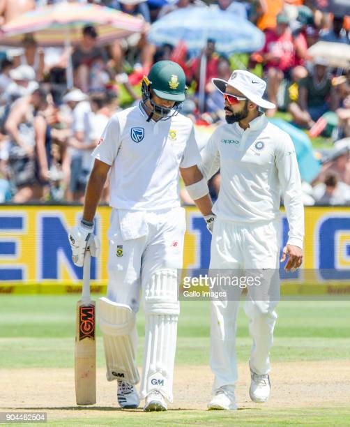 Indian captain Virat Kohli consoles Aiden Markram of South Africa as the umpire signals his dismissal after 94 runs during day 1 of the 2nd Sunfoil...