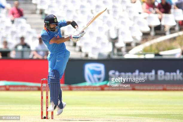 Indian captain Virat Kohli plays a delivery down the leg side during the 3rd Momentum ODI match between South Africa and India at PPC Newlands on...