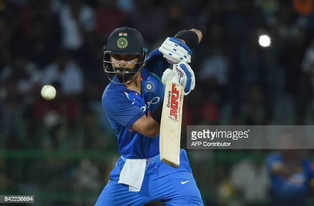 Indian captain Virat Kohli plays a shot during the final one day international cricket match between Sri Lanka and India at The R Premadasa Stadium...