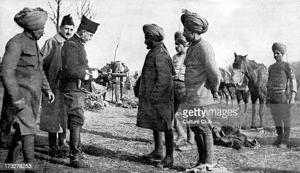 Indian Cavalry during World War 1 April 1916 French officer explaining the carbine to Indian soldiers
