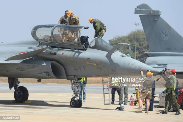 Indian Chairman of the Anil Dhirubhai Ambani Group Anil Ambani arrives for a flight in a Rafale fighter jet built by French aviation manufacturer...