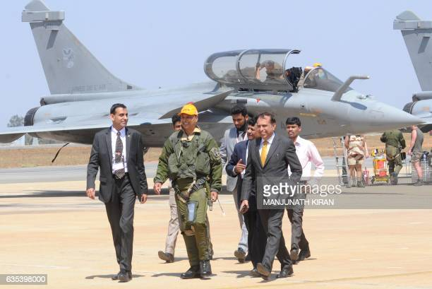 Indian Chairman of the Anil Dhirubhai Ambani Group Anil Ambani leaves after a flgiht in a Rafale fighter jet built by French aviation manufacturer...