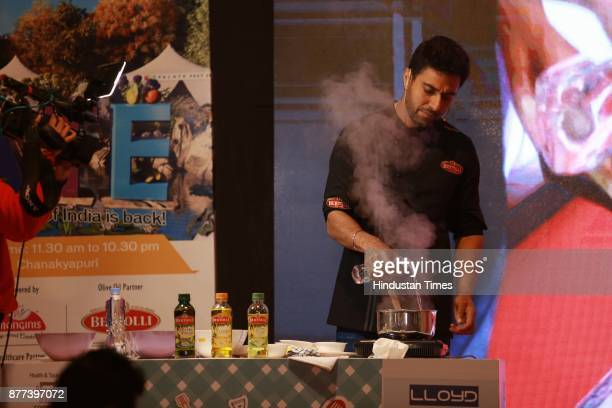 Indian Chef Ranveer Brar conducting a master class in partnership with Bertolli during the Hindustan Times Palate Fest 2017 at Nehru Park on November...