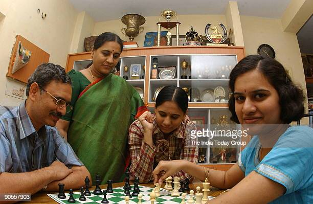 Indian Chess Player Koneru Humpy with her family