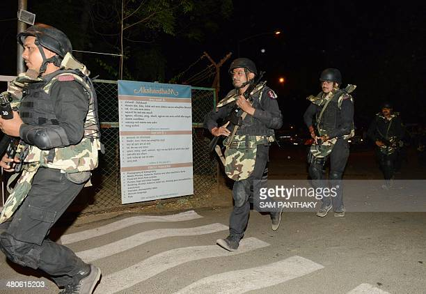 Indian Chetak Commandos from the state of Gujarat arrive to participate in a security drill at the start of three days of drills at the Akshardham...