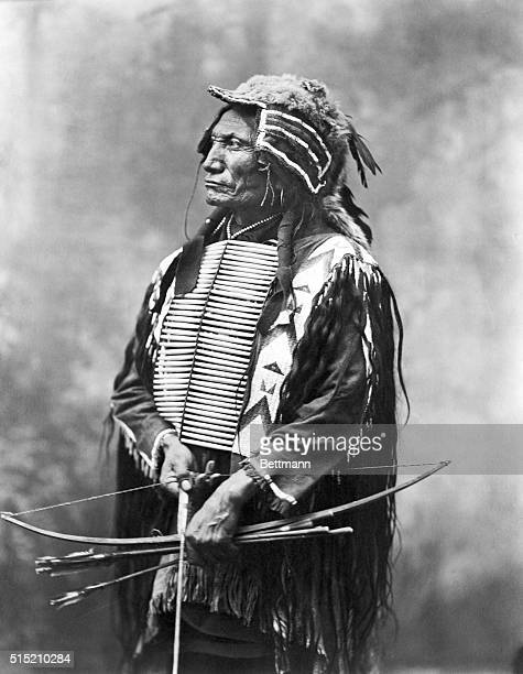 Indian Chief Broken Arm with bow and arrow Photograph of the 1880's