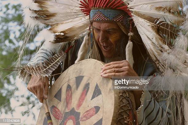 indian chief chants - headdress stock pictures, royalty-free photos & images