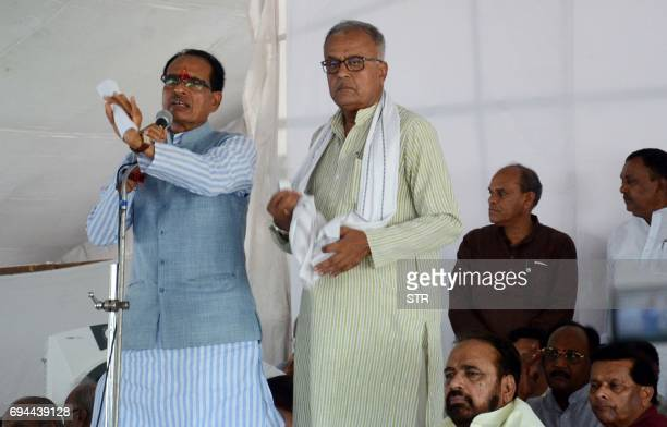 Indian Chief Minister of the state of Madhya Pradesh Shivraj Singh Chouhan addresses farmers and Bharatiya Janata Party party workers during a rally...