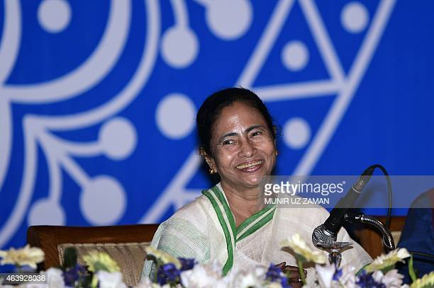 Indian Chief Minister of West Bengal, Mamata Banerjee speaks during a meeting with Bangladeshi cultural personel in Dhaka on February 20, 2015....