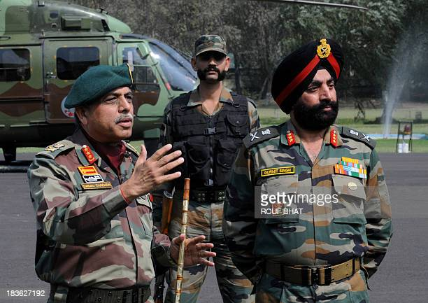 Indian Chief of Northern Command Lt General Sanjiv Chachra speaks during a press conference at the Army headquarters in Srinagar on October 8 2013...