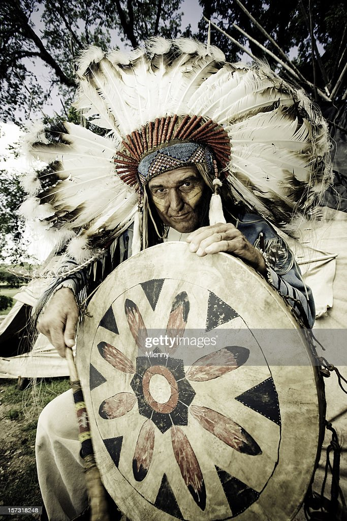 Indian Chief With Traditional Drum Stock Photo - Getty Images