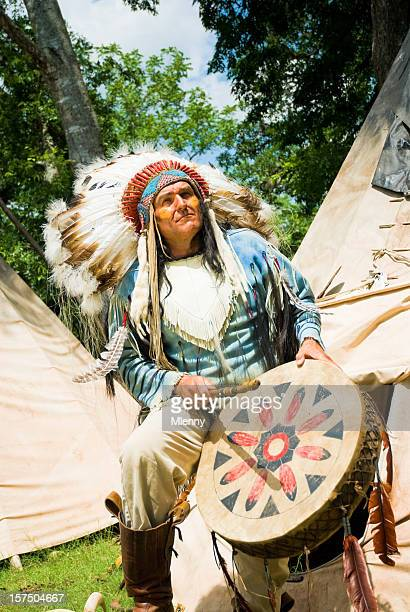 Indian Chief with Traditional Drums