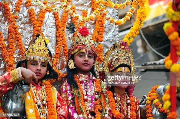 Indian Children Dressed As Hindu Lord Rama , Sita And