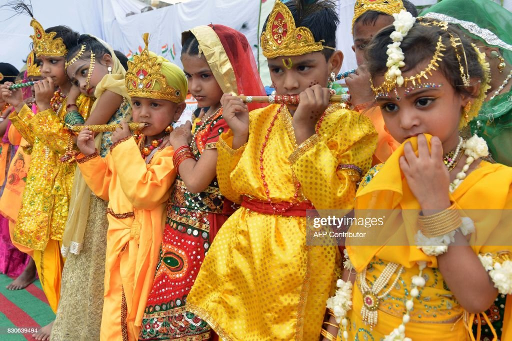 Indian children dressed as the Hindu deities Krishna and Radha attend an event at a school in Amritsar on August 12 ahead of Indian Independence Day..