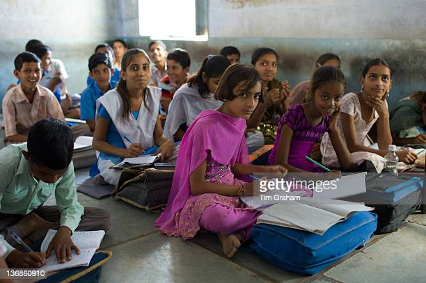 Indian children learning English at Rajyakaiya School in Narlai village Rajasthan Northern India